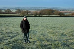me, (in my woolly hat and my pyjamas) in the frost